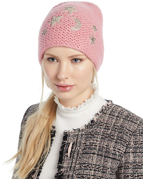 a001ad090f5df Jennifer Behr Galexia Stars   Moon Embellished Beanie Hat In Pink ...