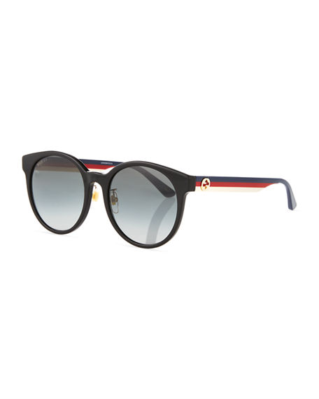 Gucci 55Mm Round Sunglasses - Black/ Multi/ Grey Gradient