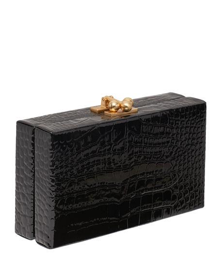 Edie Parker Jean Croc-Embossed Box Clutch Bag In Black