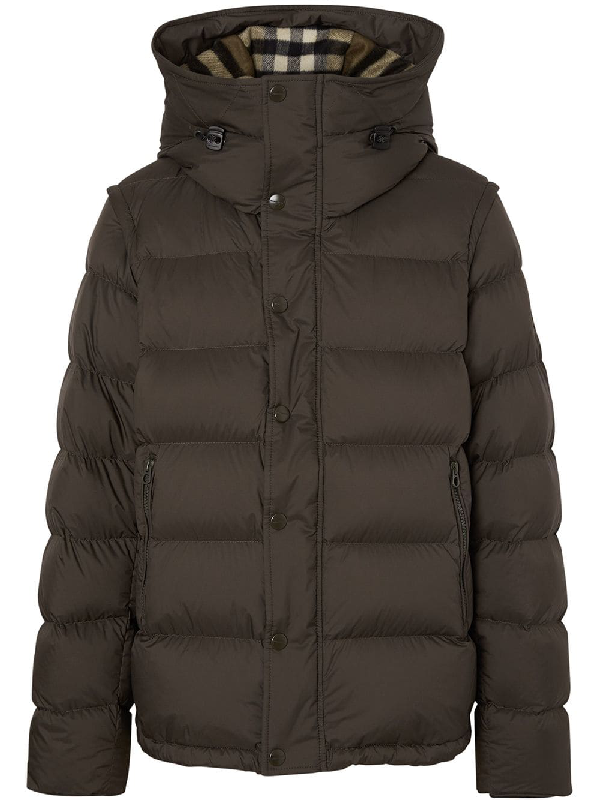 e525e06c0c3 Burberry Detachable-Sleeve Down-Filled Hooded Puffer Jacket In Green ...