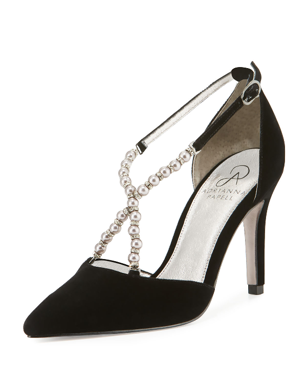 e951f386a29 Adrianna Papell Pointed-Toe Pumps With Beaded Straps In Black