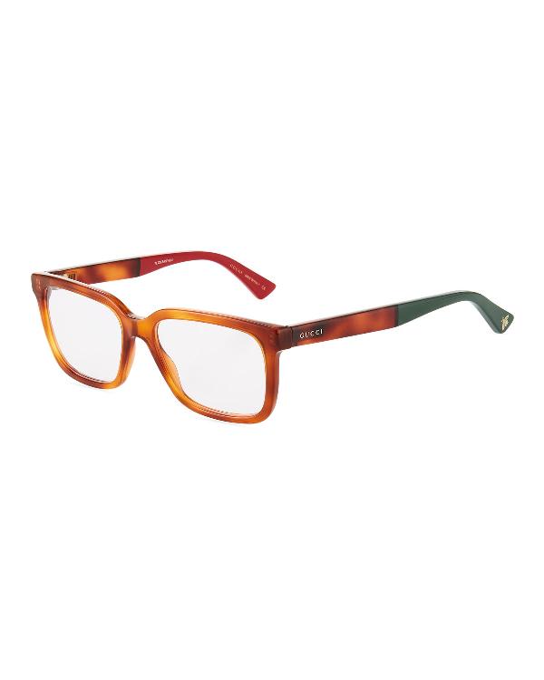Gucci Square Havana Acetate Optical Glasses In Brown