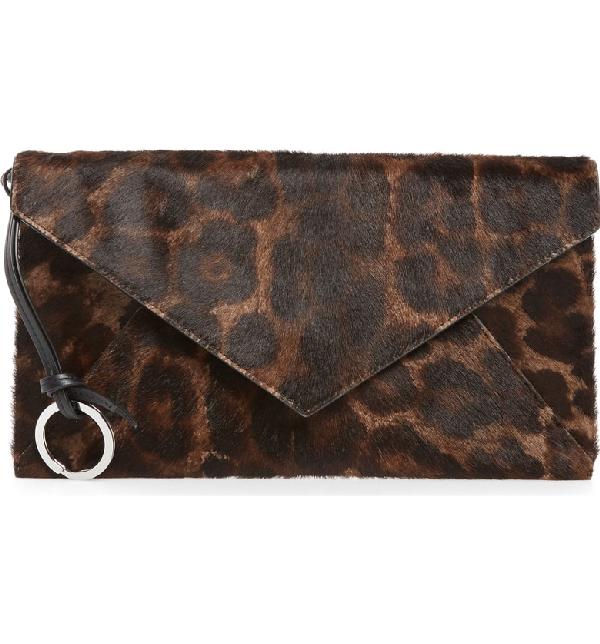 579ae8e6d4de Allsaints Voltaire Large Envelope Genuine Calf Hair Clutch - Brown In  Leopard/ Black