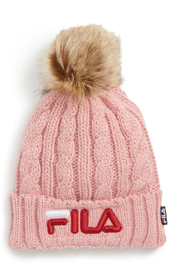 a529218a13b60 Pompom Cable Knit Beanie - Pink in Pink Shadow