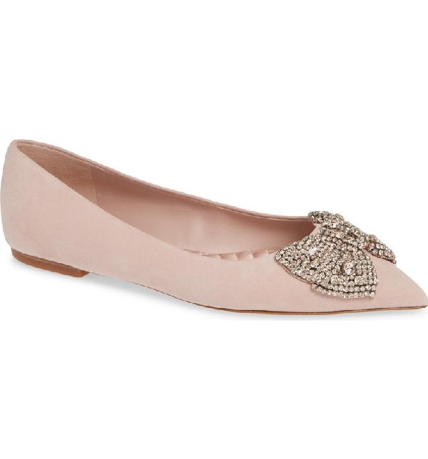 fe084662fa4 Tory Burch Esme Crystal Bow Flat In Sea Shell Pink | ModeSens