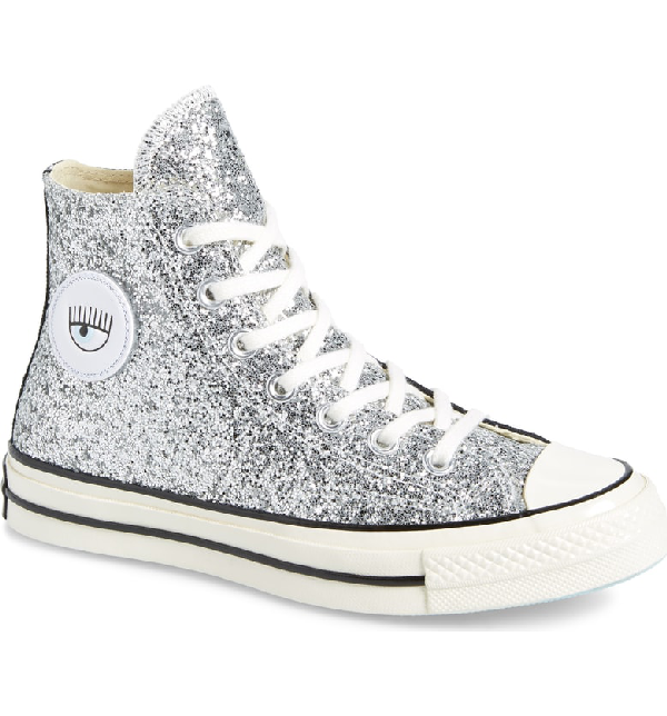 6f4ee0f606a3 Converse X Chiara Ferragni Women's Chuck Taylor Tillands Glitter High Top  Sneakers In Black/ Metallic