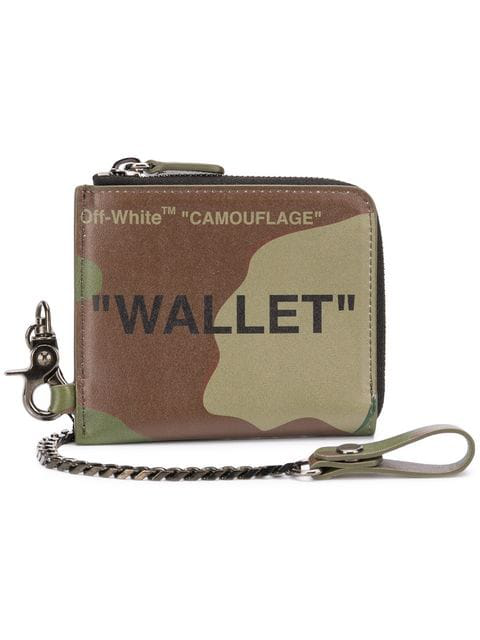 df5ef959ebe0 Off-White Camouflage-Print Leather Wallet-On-Chain In Green | ModeSens