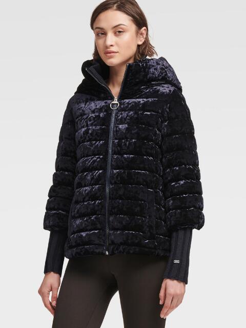 Donna Karan Dkny Women's Velour Puffer Jacket - In Wren
