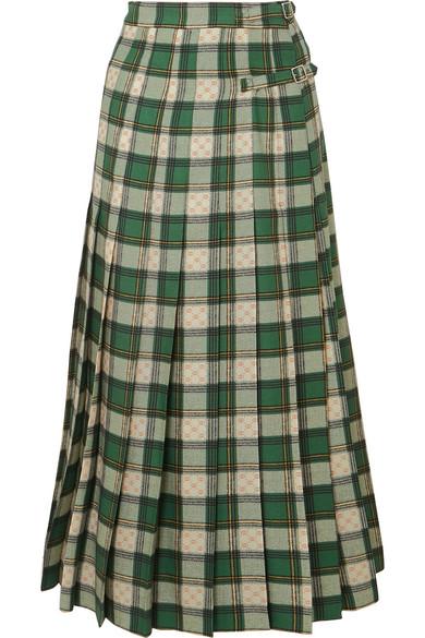 Gucci Tartan Pleated Wool-Twill Wrap Skirt In Green