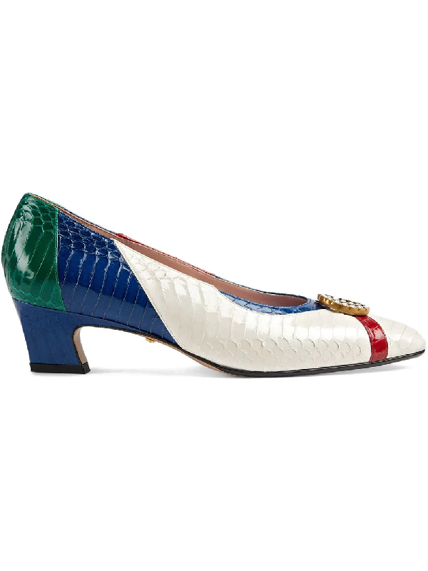 74229c310 Gucci Snakeskin Pump With Crystal Double G In White