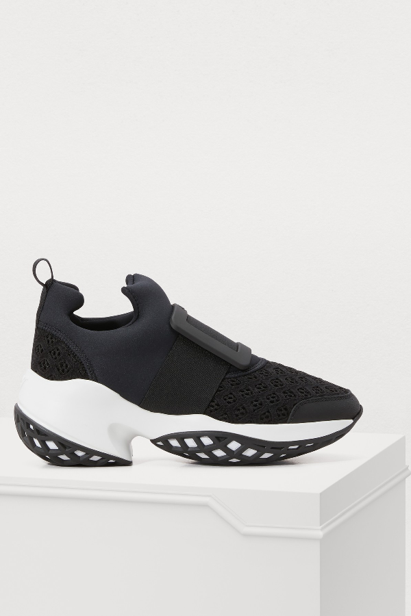 622206dd038950 Women s Roger Vivier Viv  Run sneakers. High tech and scuba effect fabric  upper. Leather detailing. Front buckle. Front elasticated panel