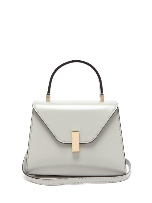Valextra Iside Mini Leather Bag In Light Grey