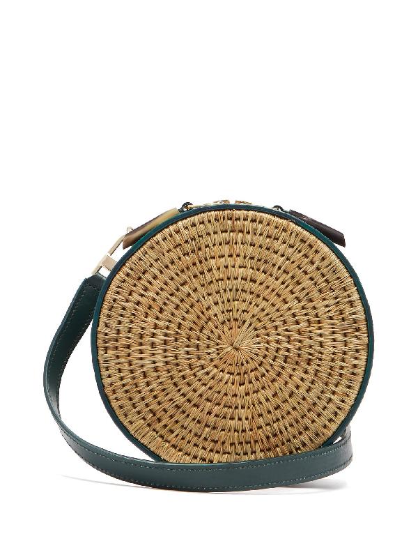 Khokho Sindi Leather-trimmed Basket Bag In Dark Green Multi