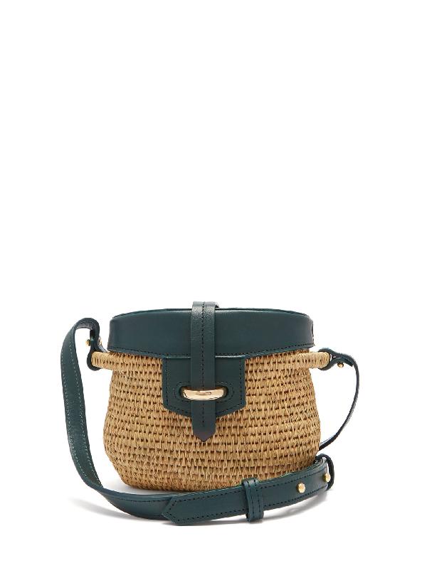 Khokho Jabu Leather-trimmed Mini Basket Bag In Dark Green Multi