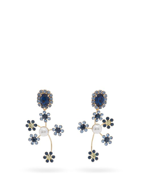 Erdem Crystal And Pearl-embellished Floral-drop Earrings In Blue