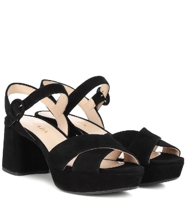 Prada Classic Platform Sandals In Black