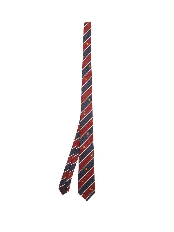Gucci Striped Silk Tie In Red Multi