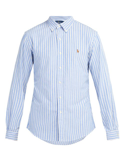 203d53ef26 Polo Ralph Lauren Slim-Fit Striped Cotton Oxford Shirt In Blue Stripe