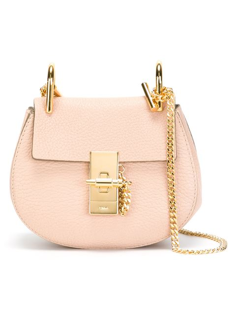 ChloÉ Drew Mini Calfskin Crossbody Bag, Pink In Cemeet Piek
