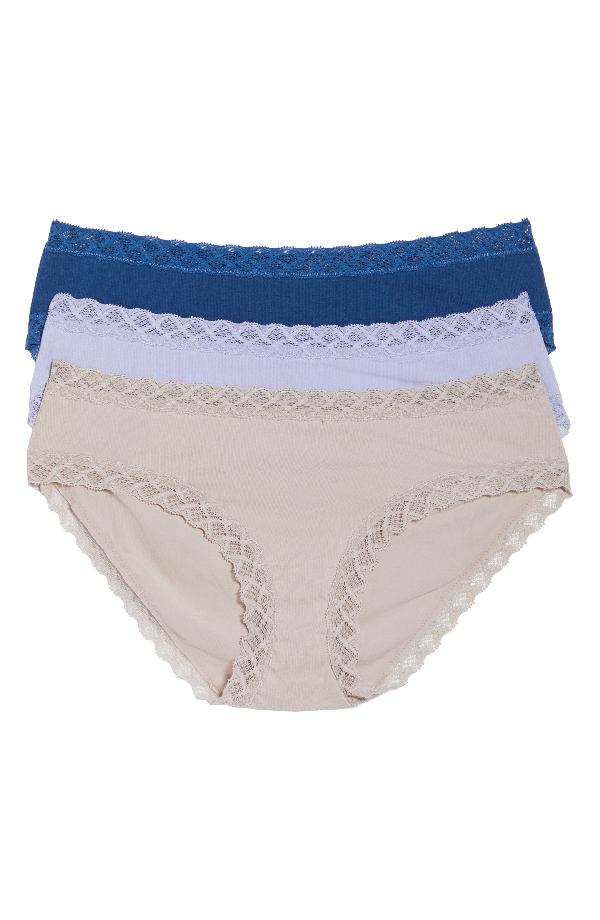 b3e30c92db18 Natori Three-Pack Bliss Cotton Girl Briefs In Cadet Blue/ Purple Rose/ Flax