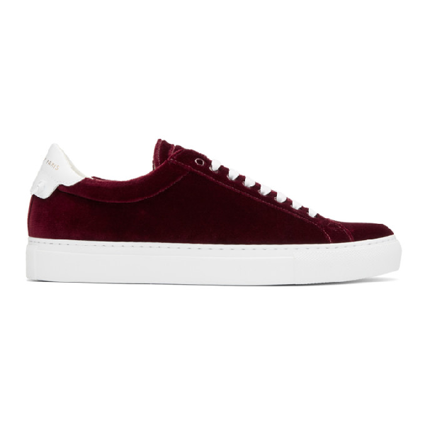 Givenchy Burgundy Urban Street Low-Top Sneakers In 604Burgundy