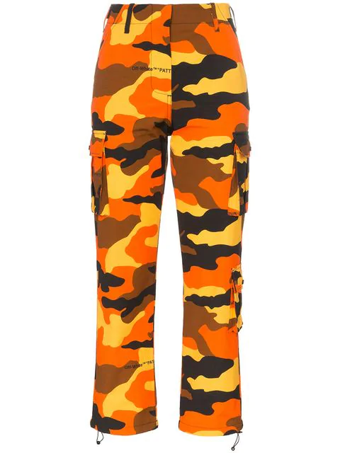 Off-White Camouflage-Print High-Rise Straight Cotton Cargo Trousers In Orange