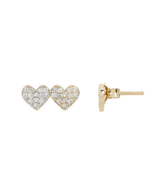 Sydney Evan Double Diamond Heart Stud Earrings