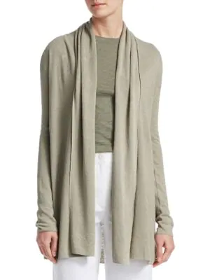 Theory Open Front Cardigan In Washed Khaki