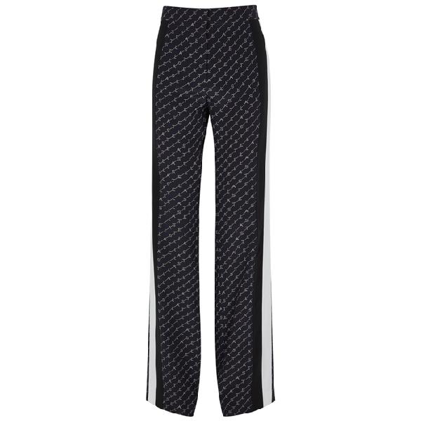 Stella Mccartney Dana Monogrammed Wide-Leg Silk Trousers In Navy