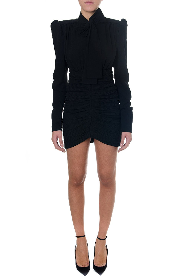 Saint Laurent Fitted Bow Detail Dress In Black
