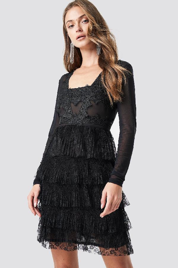 Na-Kd Mesh Sleeve Lace Mini Dress Black