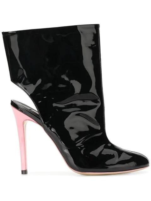Natasha Zinko Open Back Ankle Boots In Black