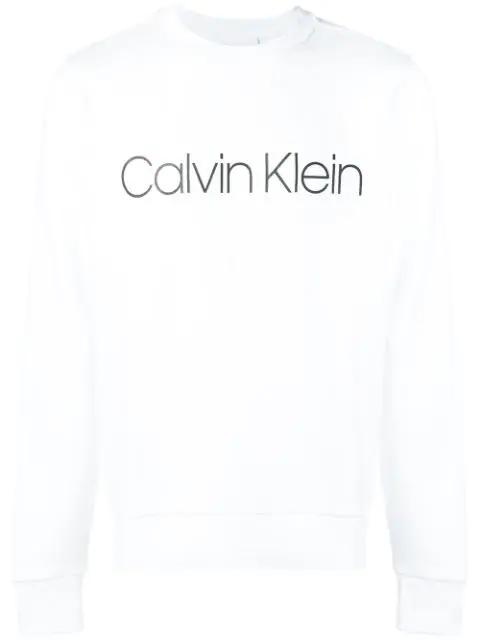Calvin Klein Logo Print Sweatshirt In White