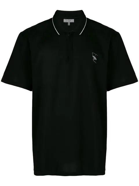 Lanvin Short Sleeved Polo Shirt In Black