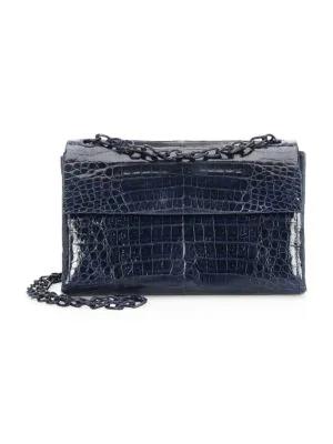 Nancy Gonzalez Madison Crocodile Shoulder Bag In Navy