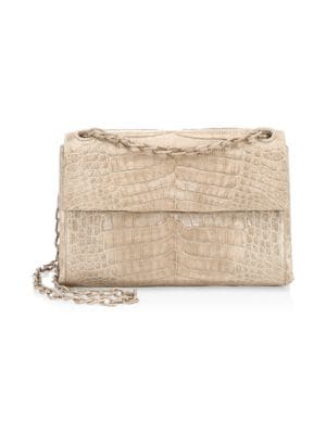 Nancy Gonzalez Madison Crocodile Shoulder Bag In Taupe
