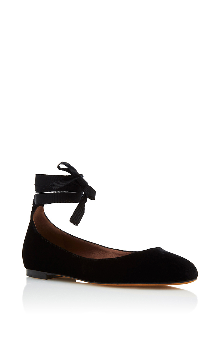 48c5b1305f7 Tabitha Simmons Daria Suede Ankle-Wrap Flat In Black