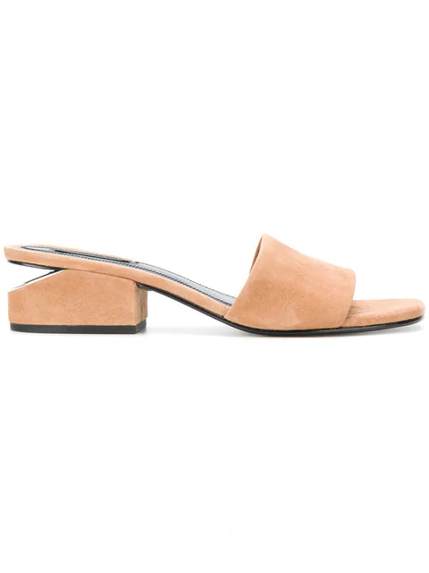 9d3190cc74 Alexander Wang Lou Low Heel Sandals In Clay Goatskin Leather In Nude ...