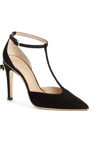 9a5106ffb53 Tory Burch Belleville Bow T Strap High Heel Pumps In Black  Light Gold