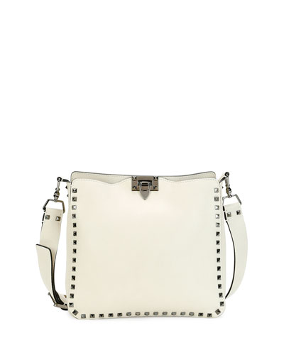 7d124014f73 Valentino Guitar Rockstud Rolling Noir Camu Butterfly Hobo Bag, Ivory