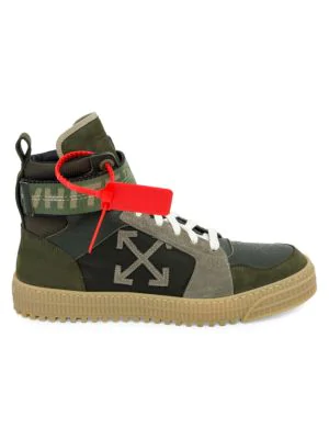 Off-White Industrial Paneled Leather And Suede High-Top Sneakers In Army Green
