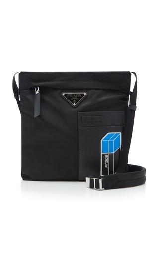 Prada Leather-Trimmed Shell Messenger Bag In Black