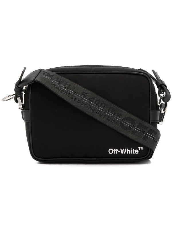 d114456389585 Off-White Nylon Crossbody Bag W  Webbing In Black
