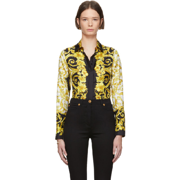 7ff283c71cbd9 Versace Black Silk Medusa Barroco Shirt In A7900 Black