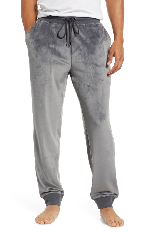 Daniel Buchler Velour Lounge Jogger Pants In Grey Modesens