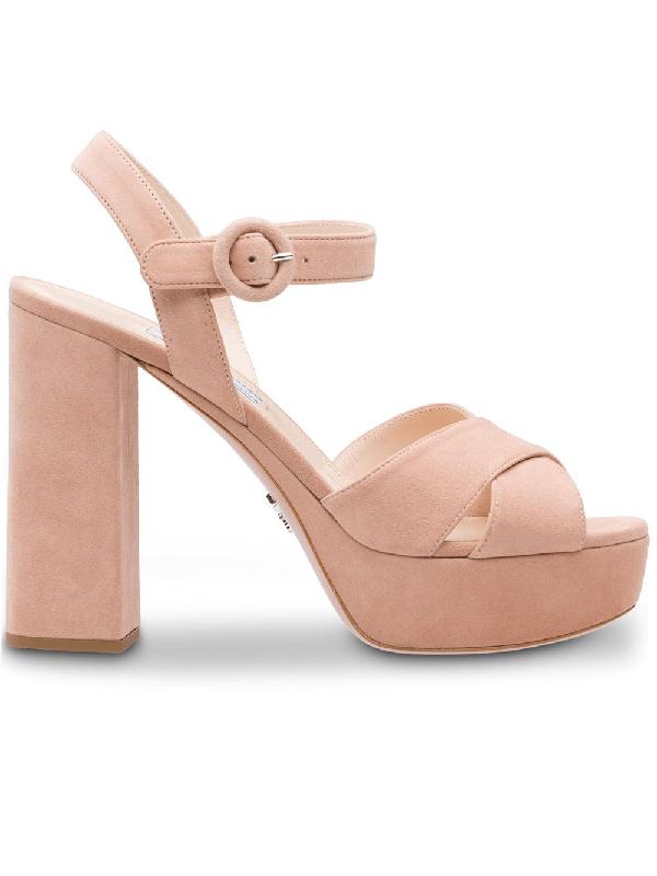 e25a1d003f9 Prada Suede Platform Sandals - Neutrals
