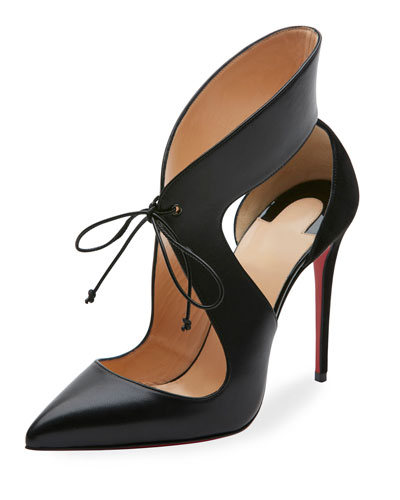 cf70c9a2817 Ferme Rouge 100 Cutout Leather And Suede Pumps in Black