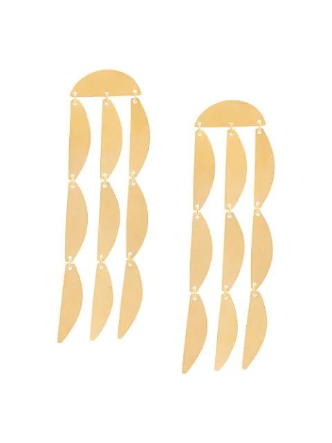 Annie Costello Brown Mini Rain Earrings In Gold