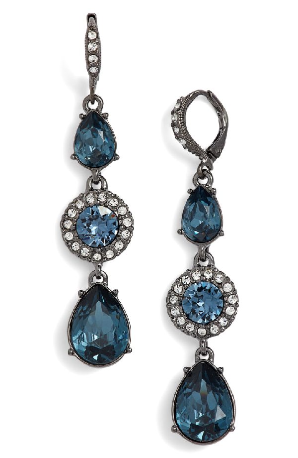 91b3bc901 Givenchy Crystal Linear Drop Earrings In Blue/ Hematite | ModeSens