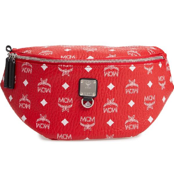 85113ea66efe7 Mcm Fursten Visetos Coated Canvas Belt Bag - Red In White Logo Viva Red